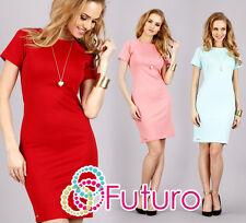 Elegant Women's Dress Crew Neck Short Sleeves Tunic Sizes 8 - 16 FA285