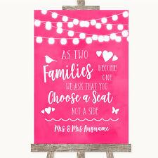 HOT Fucsia Rosa luci come famiglie diventano un solo piano a sedere segno di nozze