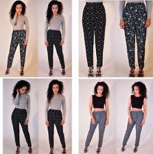 Womens Ladies Printed Tapered  Full Length Jersey Harem Trousers Leggings