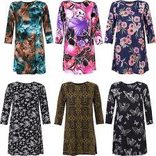 BNWT Ladies Print Tunic Dress 3/4 sleeve available in S/M M/L L/XL