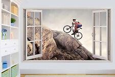 MOUNTAIN BIKE BIKER CLIMBING ON ROCK WALL STICKER ROOM DECORATION DECAL MURAL