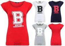 Nouveau femme à mancherons USA COLLEGE Boston Imprimer Chemisier T-shirt Femme