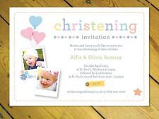 Personalised joint Christening Naming Day Baptism invitations Birthday girl boy