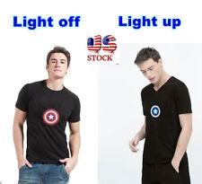 T-Shirt LED Light Up Cosply Flashing Captain America Superhero Men Arc Reactor