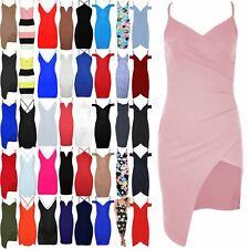 Womens Asymmetric Bodycon Cami Side Slant Ladies Printed Strappy Wrap Mini Dress