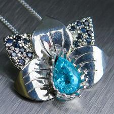 Paraiba blue Apatite & sapphires 9ct 14k 18k yellow white rose Gold pendant