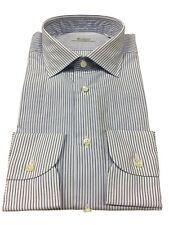 BRANCACCIO camisa de hombre rayas azul/blanco 100 % algodón ajustado