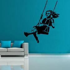 Banksy Girl SU ALTALENA decalcomania vinile Murale Adesivo ARTE GRAFFITTI STRADA