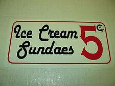 ICE CREAM SUNDAES Sign Metel vintage soda fountain billiard game room kitchen