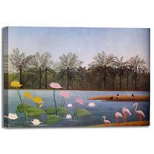 Rousseau giungla con fenicotteri quadro stampa tela dipinto telaio arredo casa