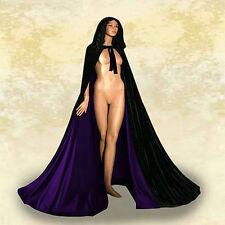 Black + purple velvet hooded cloak wedding cape Halloween wicca robe coat