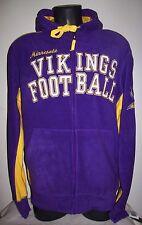 MINNESOTA VIKINGS Fuzzy Fleece Hooded Jacket Sewn Logos M L XL 2X PURPLE YELLOW