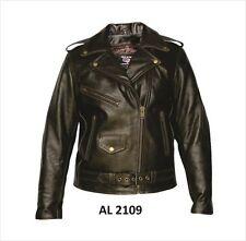 Womens Retro Brown Premium Buffalo Leather Motorcycle biker Jacket $249 S,M,L,XL