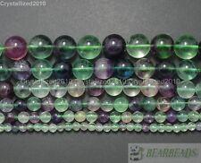 "Natural Rainbow Fluorite Gemstone Round Beads 4mm 6mm 8mm 10mm 12mm 14mm 15.5"""