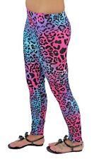 Ladies Neon Animal Print Pink Blue Womens Leopard Giraffe Fashion Leggings 8-22