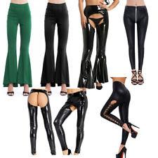 5b782333317 Women s High Waist Leggings Pants Shiny Latex Faux Leather Clubwear Trouser  Plus