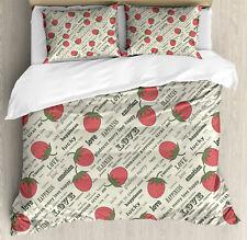 Fruits Duvet Cover Set with Pillow Shams Retro Strawberry Love Print