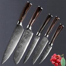 Stainless Steel Santoku Kitchen Knife Set Laser Damascus Cleaver Chef Knives NEW