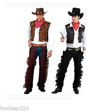 NUOVO Da Uomo Cowboy Wild Western Adulti Costume Halloween Nero Marrone