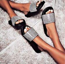 New Rhinestone Crystal Wide Band Open Toe Slides Flat Sandal Shoes Flip Flops US