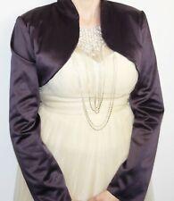 Satin Bolero Evening Jacket Long Sleeve Dark Purple
