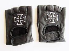Fingerlose Leder Handschuhe ohne Finger schwarz mit Eisernes Kreuz Gr. S - 3XL