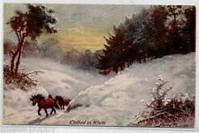 Buon Natale Delizioso Paesaggio Innevato con Cavalli TUCK 1034 PC Viaggiata 1923