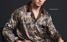 FREE SHIP Xmas GIFT Mens Silk Satin Pajamas US 3XL  2XL XL L M Lounge Pants Top