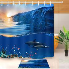 Sunrise Undersea Dolphin Fish Shower Curtain Set Bathroom Mat Waterproof Fabric