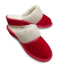 Damen Hausschuhe Pantoffeln Veloursleder m. Lammwolle gefüttert, Rot, Gr.37- 41