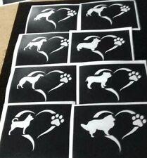 5 - 20 Chien patte en cœur Gravure au pochoir de nombreuses races CORGI caniche Chihuahua Husky