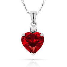 3.07Ct White Sapphire & Heart Ruby Charm Pendant14K White Gold w/Chain