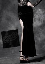 Jupe longue fendue velours gothique lolita burlesque broderie baroque Punkrave