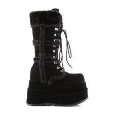 "Bear 202 Vegan Suede Fur Trim 4.5"" Platform Lace Up Calf Boot 6-11 Black"