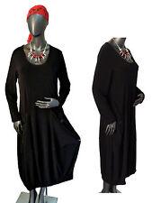 42/44 44/46 46/48 Exquisites elegantes Kleid Jersey-Kleid Langarm Schwarz lang