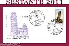 ITALIA FDC ROMA CENTENARIO TORRE DI PISA PENDENTE 1973  ANNULLO MATERA B57a