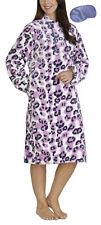 i-Smalls Ladies Housecoat Flannel Fleece Pink Leopard Print with Eye Mask