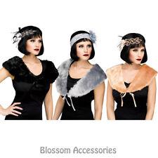 AC34 Great Gatsby 20s Costume Faux Fur Stole Shawl Shrug Bolero Wrap Cape 1920s