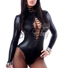 Womens Sexy Wetlook Bodysuit Lingerie Lace up Romper Catsuit Dance Clubwear
