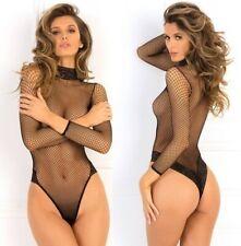 René Rofè Sexy Body Intimo da Donna a Rete con Pizzo Nero Lingerie Erotica S M L
