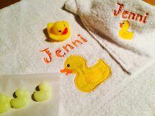 Personnalisé Bébé/Enfant Serviette/flanelle/Ensemble Cadeau, Duck/petit canard, nouveau bébé, anniversaire