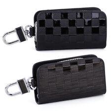 Genuine Leather Car Auto Zipper Remote Smart Key Chain Cover Holder Case Bag