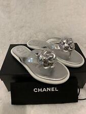 Chanel Camella Silver/White Thong Sandals Sz34.5 $725