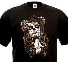T-Shirt CATRINA Tattoo Mexique Tatouage Calavara Pin-Up - Tête de mort Mexicaine