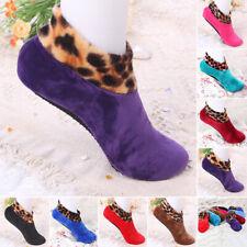 Women Winter Warm Thicken Leopard Bed Non Slip Indoor Floor Socks Slipper