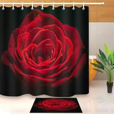 "Red Rose Shower Curtain 12 Holes Set 72x72"" Bathroom Mat Fabric Home Decor Black"