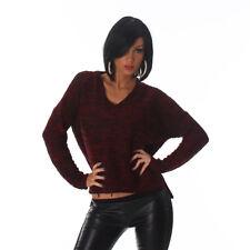 Maglione Donna Scollo a V Maglia Manica Lunga Pullover Taglia Unica Moda Inverno