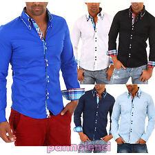 Camicia UOMO slim fit polo clubwear maglia inserti scozzesi AL-H-110