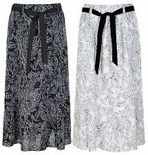Ladie Women 36 Inch Linen Skirt Floral Printed Fabric Tie belt Elasticated Waist