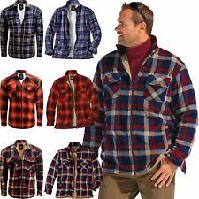 Mens Padded Sherpa Fur Lined Fleece Jacket Lumberjack Flannel Work Shirt S-5XL